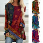 Women Casual Vintage Print Crew Neck T Shirt Long Sleeve Loose Tunic Blouse Tops