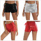 Women's Side Lace-up Glitter Sequin Dance Short Club Party Costume Performance