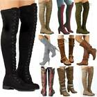 Women Winter Thigh High Over The Knee Boots Casual Party Stretch Lace Up Shoes