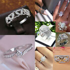 Gorgeous 925 Silver Rings Women Round Cut White Sapphire  Jewelry Gift Size 6-10