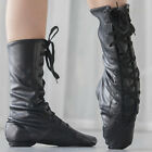 Jazz Dance Shoes Girls Adults High Top Jazz Dance Boots Black Leather Breathable