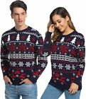 Aibrou Couples Ugly Christmas Sweater Pullover Sweater Crewneck Snowflake Reinde