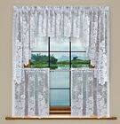 Grace Floral Lace Kitchen Curtain Tier Valance Swag Pair & Set White Cream/ivory