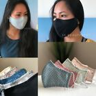 3D Triple Layer Face Mask. 100% Cotton, Washable With Filter Pocket for Women