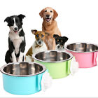 Pet Food Water Bowl Dog Cat Hanging Feeder Mountable Container for Crates Cage