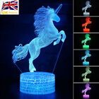 3D Unicorn Lamp Animal Touch/Remote 7 Colors LED Night Light Table Lamp Kid Gift