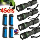 4X 90000Lumen LED Zoomable Flashlight Torch + Charger LED Flashlight us
