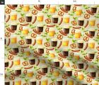 Cute Fall Funny College Beer Drinking German Spoonflower Fabric by the Yard