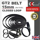 GT2 2mm Pitch 15mm Width Closed Loop Synchronous Timing Belt for GT2 15mm Pulley