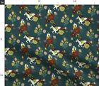 Horse Races Horse Racing Horses Floral Flowers Spoonflower Fabric by the Yard