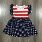 NEW Boutique 4th of July Patriotic American Flag Girls Stars Striped Dress