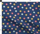 Navy Coral Mint Dots Kids Nursery Polka Spoonflower Fabric by the Yard