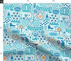 Fun Games Exercise Fitness Wellness Health Bike Spoonflower Fabric by the Yard