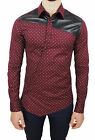 Men's Shirts Diamond Red Burgundy Cotton Elastic with Inserts Faux Leather
