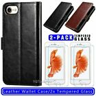 For iPhone SE 2020 Leather Wallet Flip Stand Case Cover/Tempered Glass Protector