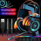3.5mm Gaming Headsets LED Headphones Stereo Wired Earphones For PC Xbox One PS4
