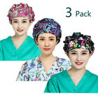 LTifree 3PC Bouffant Scrub Hats Men Women Fashion Printed Scrub Cap w/ Sweatband