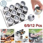 6/9/12Pcs Magnetic Spice Jars Storage Stainless Steel Spice Spray Tins Container