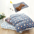 Pet Dog Mat Paw Print Cat Puppy Fleece Mattress Cushion Bed Blanket Warm Pad JD