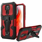 For Cricket Wireless Moto G Play, Metal Clip Shock-Resistant Case Kickstand