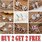 925 Sterling Silver Stud Earrings Rhinestone Crystal Womens Girls Gift Earring