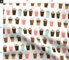 Coffee Cute Summer Pastel Girly Spoonflower Fabric by the Yard