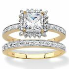 1.64 TCW Created White Sapphire and Diamond 18k Gold over Silver Ring Set
