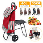 Foldable Shopping Cart Trolley Pack with Chair Folding Grocery Basket New