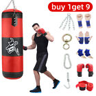 Heavy Boxing Punching Bag Training Gloves Kicking MMA Workout w/Hook Chain