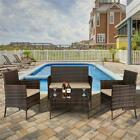 4 Pcs Outdoor Garden Patio Rattan Furniture Loveseat 2 Arm Chairs+coffee Table