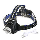 Tactical 350000LM Zoomable USB Rechargeable LED Headlamp Headlight Torch Lamp