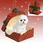 BICHON FRISE GIFT BOX ORNAMENT CHOICE OF RED/BLUE/GREEN