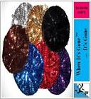 Ladies Womens SEQUIN BERET ROCK PARTY DISCO BEANIE HAT one size choose colour