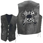 Black Leather Biker Vest with Flaming Skull and Crossbones Patch Goth Punk Laces