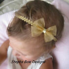 GOLD SHEER DAINTY HAIR BOW HEADBAND CHRISTMAS BABY TODL