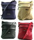 LADIES REAL LEATHER CROSSOVER BODY SHOULDER BAG PURSE BY LORENZ VARIOUS COLOURS
