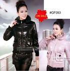 New Womens Cotton-padded Jacket Coat Outwear Black Pink Size S M L GF093
