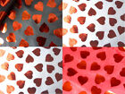 novelty SHINNING red HEARTS print BLACK & white FABRIC