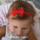 RED SHEER DAINTY HAIR BOW HEADBAND CHRISTMAS So CUTE on