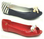 LADIES ROCKET DOG MAKENNA NAVY RED FLAT PEEP TOE PUMPS SHOES SANDALS SIZE 3 - 8