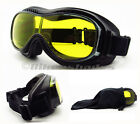 Motorcycle Goggles fit over Glasses Protective Safety Yellow Night Vision