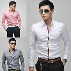 Mens Casual Slim fit  Dress Shirt  4size  4Colors E307