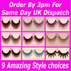 2 Pairs False Eyelashes Lashes Full Makeup★Natural Black Blue Soft Long Thick