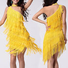 Sexy One Shoulder Cocktail Evening Party Latin Asymmetric Fringe Dance Dress 174