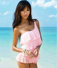 Swimsuit DJS001 Pink  One Shoulder Tiered Ruffles Tankini Swimwear Swim Dress