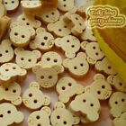 BearHead 12mm Wood Buttons Sewing Scrapbooking Craft NCB008