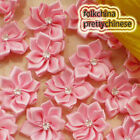 Pink Polyester Ribbons Floral With Bead Sewing Scrapbooking Appliques JM9B