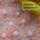 Peach Soft Organza Flower With Cluster Beads Sewing Scrapbooking Appliques JM9O