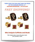 RUBY RED ELKS Insignia BPOE Gold Inlay Tuxedo Cufflinks Stud Set NEW #JWM103