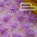 Purple Hard Orange Flower With Beads Sewing Scrapbooking Appliques Trims JMOG